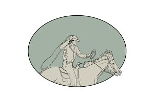 Cowboy Riding Horse Lasso Oval
