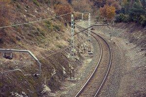 Railroad in rural landscape