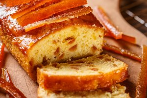 Cake with candied orange zest