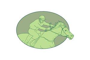 Horse Jockey Racing Oval Drawing