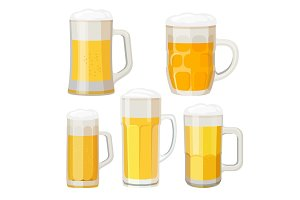 Collection of beer mugs with handles isolated on white.