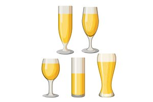 Collection of beer mugs with light alcohol beverage isolated