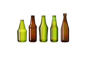 Realistic brown and green bottles of different shape vector illustration