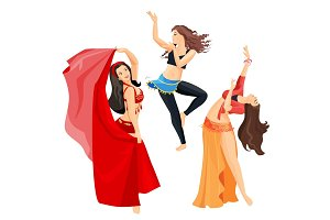 Belly dancers set of girls isolated on white background.