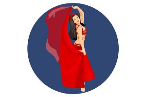 Belly dancer in traditional long red turkish dress isolated