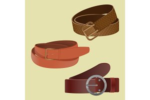 Set of leather waist belts isolated. Modern unisex accessories
