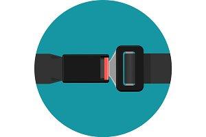 Safety black belt isolated on white background. Security seatbelt