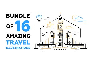 Bundle of 16 Travel Illustrations