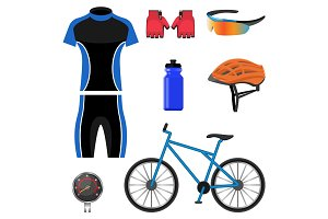 Set of bicycling icons vector illustration isolated on white background.