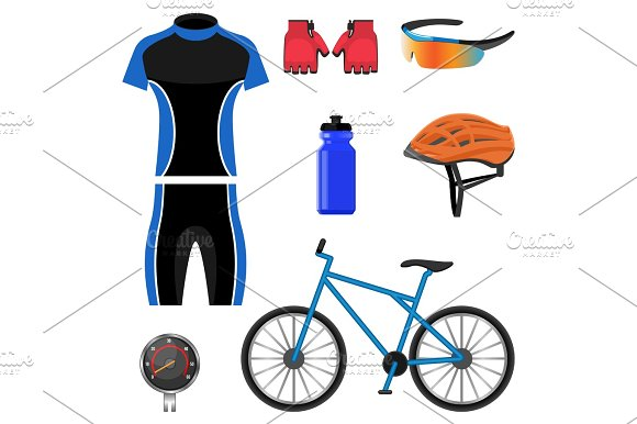 Set Of Bicycling Icons Vector Illustration Isolated On White Background