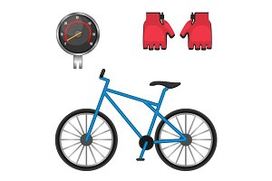 Cycling speedometer, protective leather gloves, modern bicycle icons vector illustration