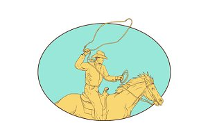 Rodeo Cowboy Lasso Horse Circle