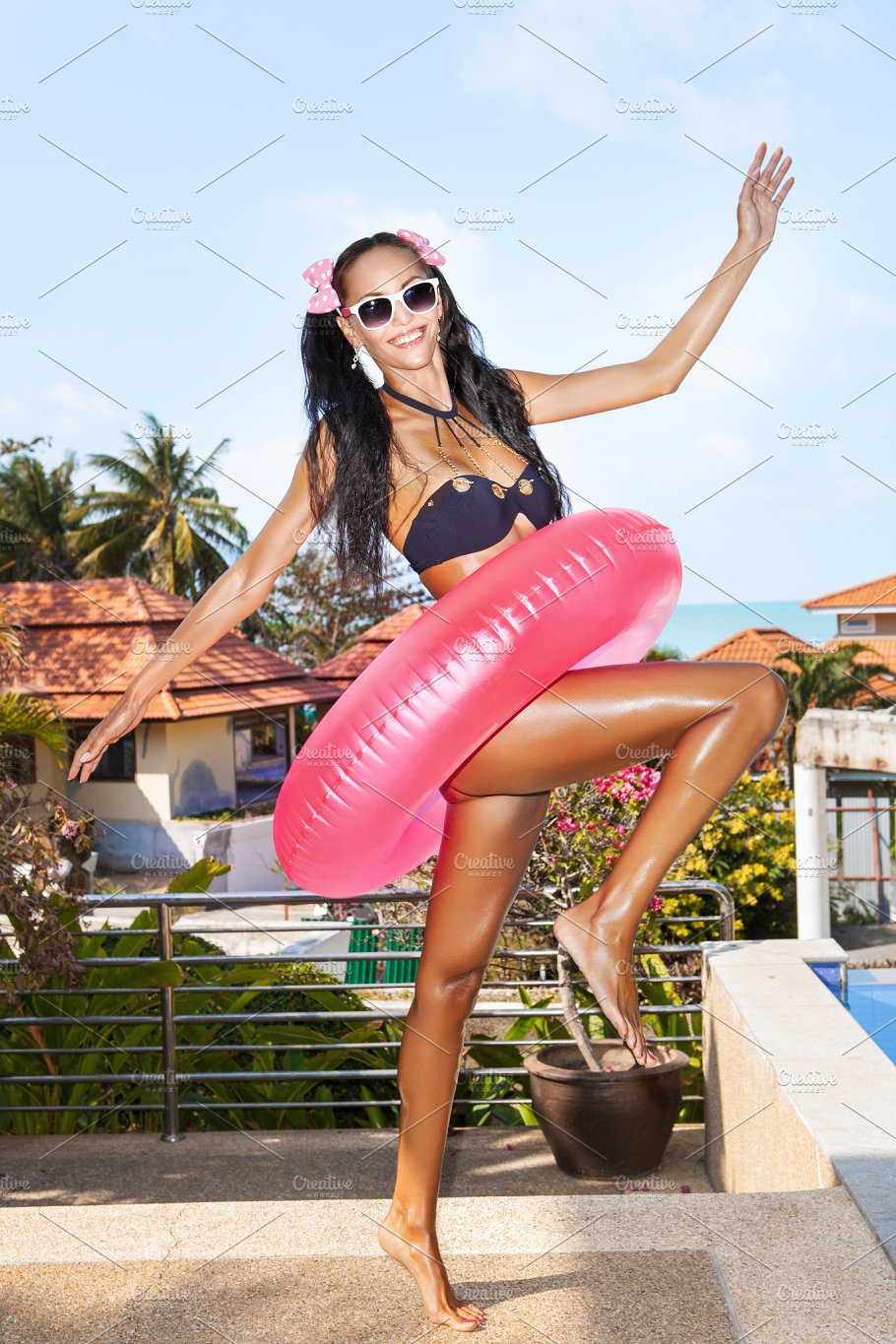 Girl with pink inner tube people photos creative market girl with pink inner tube people fandeluxe Ebook collections