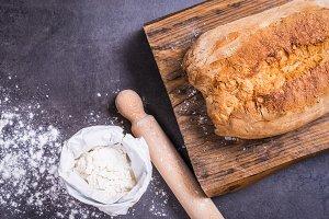 Fresh bread and flour.