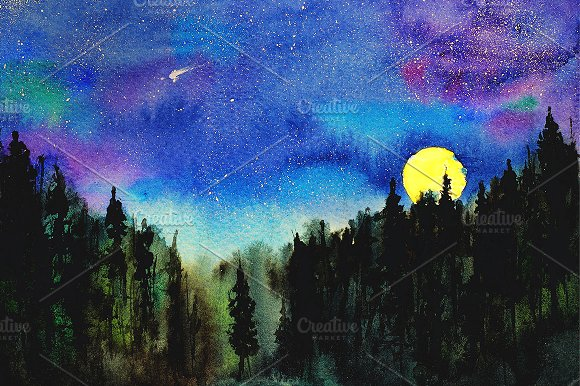 Night Forest Watercolor