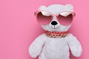 Fashion Teddy Bear Having Fun. Luxury Party Outfit