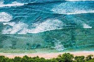 Top Aerial view of Nunggalan Beach near Uluwatu, Bali, Indonesia