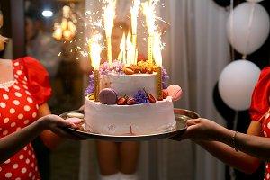 Decorated white cake