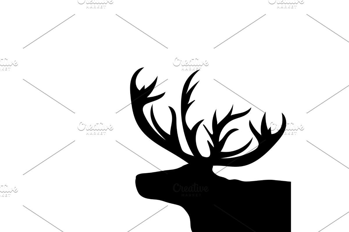 Christmas Reindeer Silhouette.Black Silhouette Head Christmas Reindeer White Background