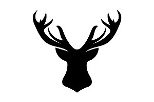 Deer Black silhouette head Christmas white background