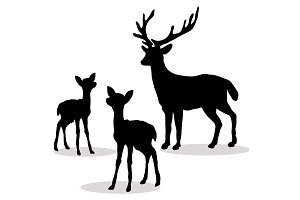 Deer family silhouette black on white background