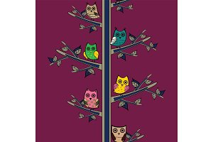 Owl tree branch vertical vector seamless pattern