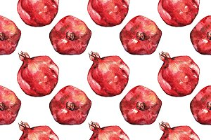Pomegranate fruit seamless pattern