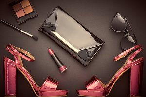 Fashion Design Woman Accessories Set.Glamor Makeup