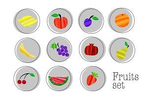 Set of fruits, patterns, detox cards