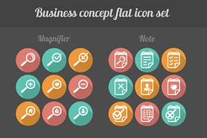 32 flat business icon set