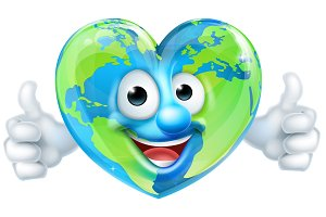 Earth Heart Mascot Cartoon Character