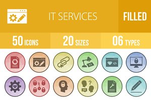 50 IT Services Low Poly B/G Icons
