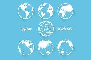 Vecrot globe icon set. Flat style