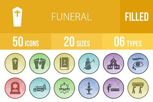50 Funeral Filled Low Poly B/G Icons