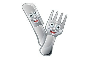Cartoon Knife and Fork Food Mascots