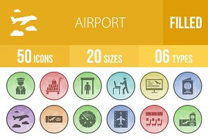 50 Airport Filled Low Poly B/G Icons