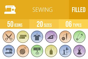 50 Sewing Filled Low Poly B/G Icons