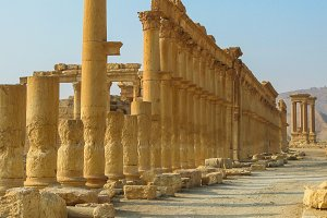 Panorama of Palmyra columns Tetrapylon ancient city, destroyed ISIS Syria