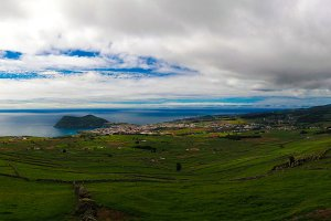Landscape with Monte Brasil volcano and Angra do Heroismo in Terceira island Azores, Portugal