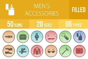 50 Men's Items Low Poly B/G Icons