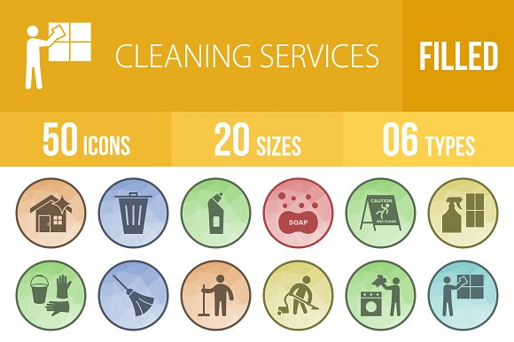 50 Cleaning Low Poly B G Icons