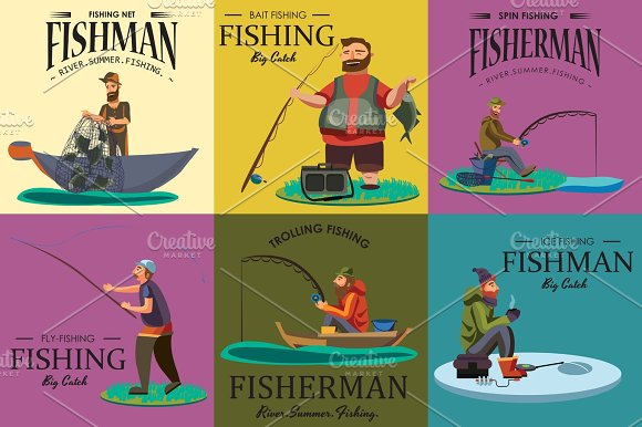 Cartoon Fisherman Standing In Hat And Pulls Net On Boat Out Of Sea Happy Fishman Holds Fish Catch And Spin Vecor Illustration Fisher Threw Fishing Rod Into Water Concept Man Active Hobby Character