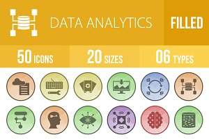 50 Data Analytics Low Poly B/G Icons