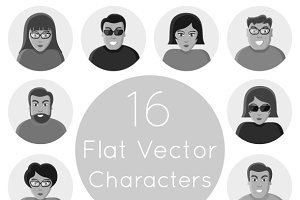 16 flat vector characters