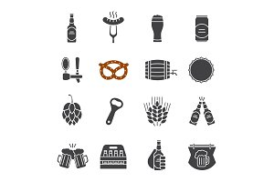 Beer glyph icons set