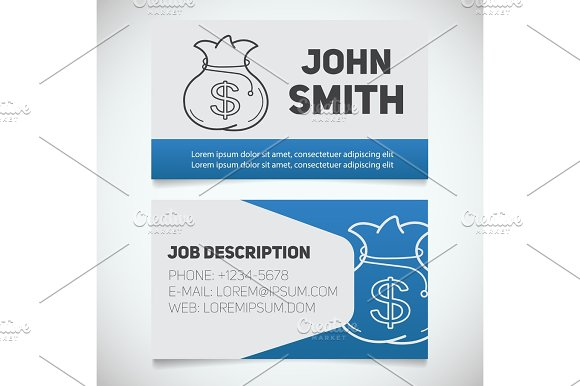 Business card print template with money bag logo