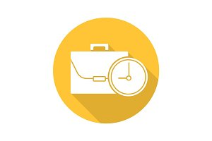 Work time flat design long shadow icon