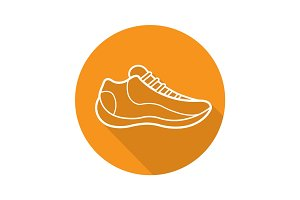 Sneaker flat linear long shadow icon
