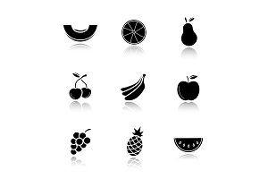 Fruit drop shadow black icons set