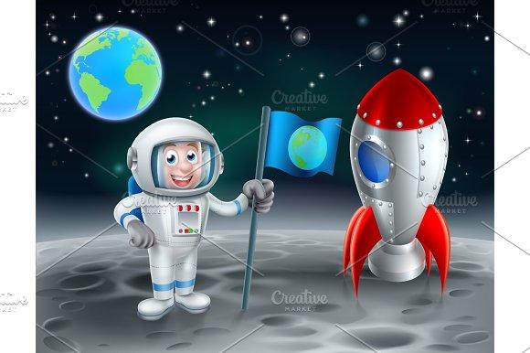 Cartoon Astronaut And Rocket On The Moon